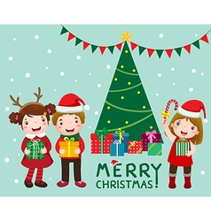 Happy cute kids with gift boxs near christmas tree vector