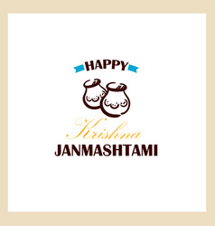 Happy krishna janmashtami badge vector