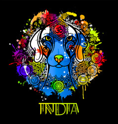image of an indian dog in indian ornament vector image