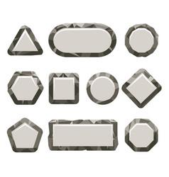 Indie game grey rock button set vector