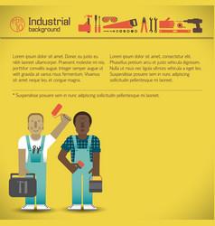 Industrial workmen yellow background vector