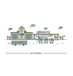 line art bus terminal station colorful vector image