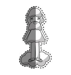 Man in cloud with casual cloth and beard vector