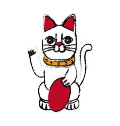 maneki-neko cat sitting lucky japanese culture vector image