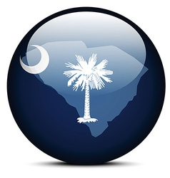 Map on flag button of USA South Carolina State vector image