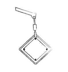 Monochrome contour hand drawing of crane hook vector