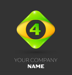 Number four logo symbol in colorful rhombus vector