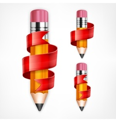 Pencils with red ribbons vector image vector image