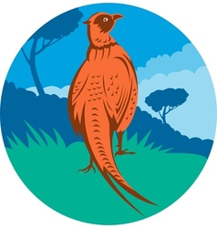 Pheasant bird walking with tree vector
