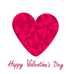 Pink heart Polygonal Happy Valentines Day vector image vector image
