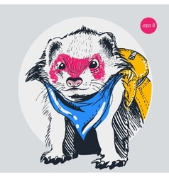 raccoon traveler backpack outline vector image vector image