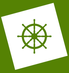 Ship wheel sign white icon obtained as a vector