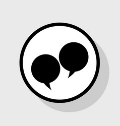 Speech bubble sign flat black icon in vector