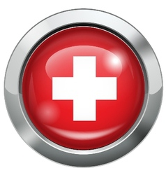 Switzerland flag metal button vector image vector image