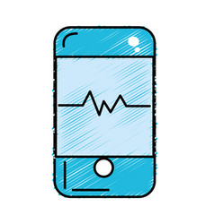 Technology smartphone with cardiac rhythm vector