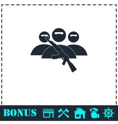 Terrorist balaclava mask icon flat vector