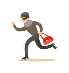 thief running with a stolen red bag colorful vector image vector image