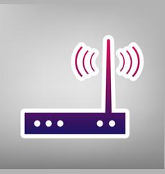 Wifi modem sign purple gradient icon on vector