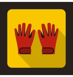 Red winter ski gloves icon flat style vector image