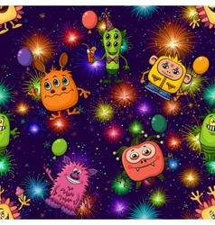 Christmas Monsters Seamless vector image