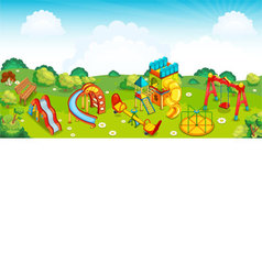 Playground on the meadow vector