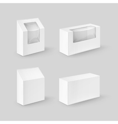 Set of White Rectangle Boxes For Food Gift vector image