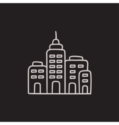 Residential buildings sketch icon vector