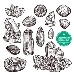 Crystals and stones set vector