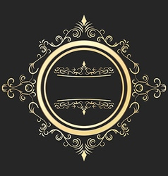 Round decorative golden frame in vintage style vector