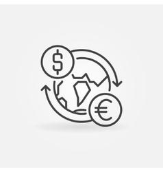 Dollar to euro convert icon vector
