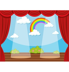 Stage with rainbow in backdrop vector
