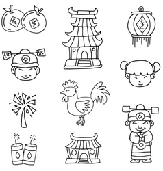 Doodle of Chinese element new year vector image