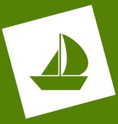 Sail boat sign white icon obtained as a vector