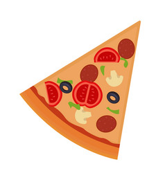 Piece of pizza with salami mushrooms tomato vector