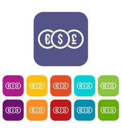 Euro dollar pound coin icons set vector