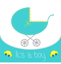 Baby boy shower card Baby carriage Its a boy vector image