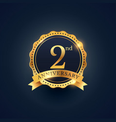 2nd anniversary celebration badge label in golden vector