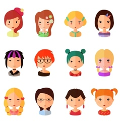 Set of cartoon avatar flat girls icons vector