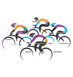 Cyclists racers colorful background vector