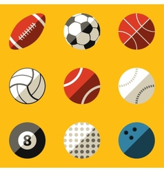 Flat icon set sport ball vector