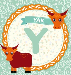 Abc animals y is yak childrens english alphabet vector