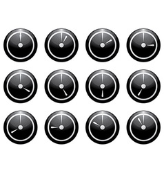 Clock symbol set white on black isolated on white vector