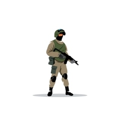 Commando man police officer in uniform and face vector