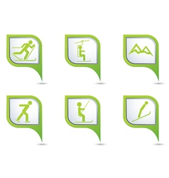Set of 6 sport green pointer vector