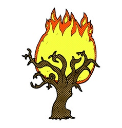 Comic cartoon winter tree on fire vector