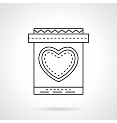 Invitation card with heart flat line icon vector