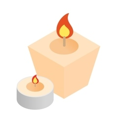 Spa candles isometric 3d icon vector