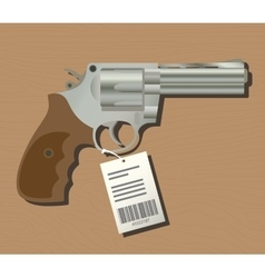 Buy gun pistols with price tag isolated wood vector