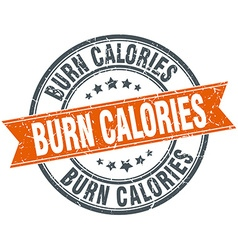 Burn calories round orange grungy vintage isolated vector