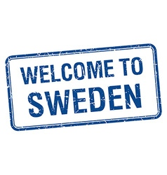 Welcome to sweden blue grunge square stamp vector